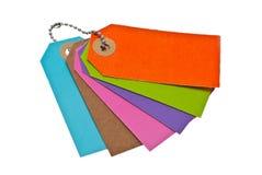 Escrituras de la etiqueta coloridas. Fotografía de archivo