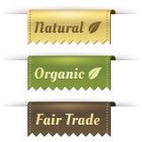 Escrituras de la etiqueta con estilo para natural, orgánicas, FairTrade de la etiqueta Fotografía de archivo