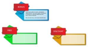 Escrituras de la etiqueta con título - tres colores de Origami Foto de archivo