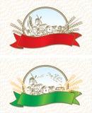 Escrituras de la etiqueta creativas del trigo stock de ilustración