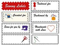 Escrituras de la etiqueta de costura Imagen de archivo libre de regalías
