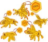Escrituras de la etiqueta de la abeja del producto de la alta calidad Foto de archivo libre de regalías