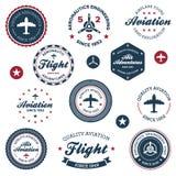Escrituras de la etiqueta de la aeronáutica de la vendimia Foto de archivo libre de regalías
