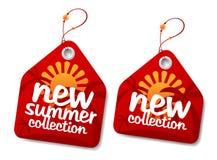 Escrituras de la etiqueta de la colección del verano. Imagen de archivo