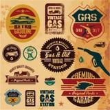 Escrituras de la etiqueta de la gasolina de la vendimia