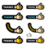 Escrituras de la etiqueta de la mano de la sacudida de las gracias stock de ilustración