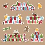 Escrituras de la etiqueta de la Navidad Imagen de archivo libre de regalías