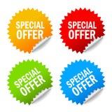 Escrituras de la etiqueta de la oferta especial del vector Imagen de archivo libre de regalías
