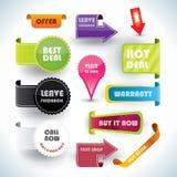 Escrituras de la etiqueta de la oferta especial y de la garantía, etiquetas engomadas Fotografía de archivo