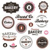 Escrituras de la etiqueta de la panadería de la vendimia fotografía de archivo