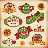 Escrituras de la etiqueta de la pizza de la vendimia Fotos de archivo