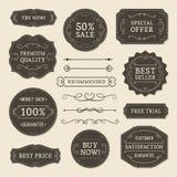 Escrituras de la etiqueta de la vendimia Fotografía de archivo