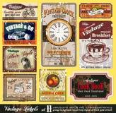 Escrituras de la etiqueta de la vendimia - conjunto 11 Foto de archivo libre de regalías
