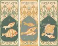 Escrituras de la etiqueta de la vendimia: pescados Foto de archivo