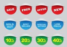 Escrituras de la etiqueta de la venta al por menor de la promoción Imagen de archivo libre de regalías