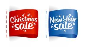 Escrituras de la etiqueta de la venta del Año Nuevo y de la Navidad. Foto de archivo libre de regalías