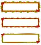 Escrituras de la etiqueta de las insignias de las banderas de la Navidad Foto de archivo