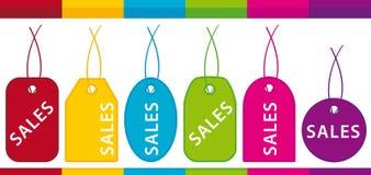 Escrituras de la etiqueta de las ventas Foto de archivo
