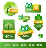 Escrituras de la etiqueta de las ventas de la primavera Imagen de archivo libre de regalías
