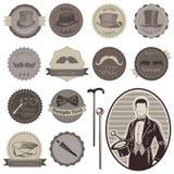 Escrituras de la etiqueta de los accesorios de los caballeros Fotos de archivo