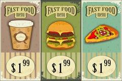 Escrituras de la etiqueta de los alimentos de preparación rápida de la vendimia stock de ilustración