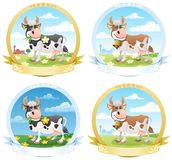 Escrituras de la etiqueta de los productos lácteos stock de ilustración