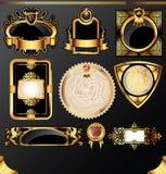 Escrituras de la etiqueta de oro Imágenes de archivo libres de regalías