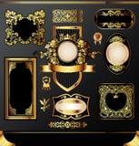 Escrituras de la etiqueta de oro Imagen de archivo libre de regalías