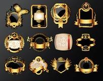 Escrituras de la etiqueta de oro Foto de archivo libre de regalías