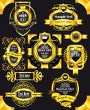 Escrituras de la etiqueta de oro del negro de la vendimia Imagen de archivo libre de regalías
