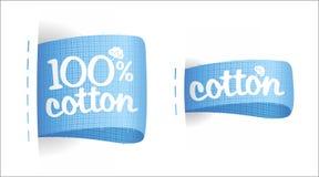Escrituras de la etiqueta de vestir para el algodón. Imágenes de archivo libres de regalías