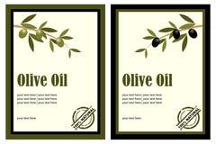 Escrituras de la etiqueta del aceite de oliva Fotografía de archivo libre de regalías