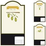 Escrituras de la etiqueta del aceite de oliva Fotos de archivo libres de regalías