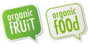 Escrituras de la etiqueta del alimento biológico y de la fruta Imágenes de archivo libres de regalías