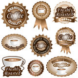 Escrituras de la etiqueta del café Fotos de archivo libres de regalías