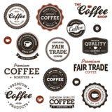Escrituras de la etiqueta del café de la vendimia Fotos de archivo libres de regalías