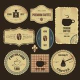 Escrituras de la etiqueta del café del vintage Fotografía de archivo