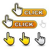 Escrituras de la etiqueta del cursor de la mano del tecleo Imagen de archivo