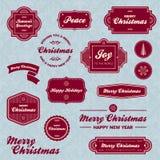 Escrituras de la etiqueta del día de fiesta de la Navidad Imagenes de archivo