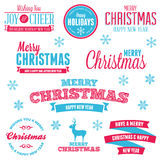 Escrituras de la etiqueta del día de fiesta de la Navidad Foto de archivo libre de regalías