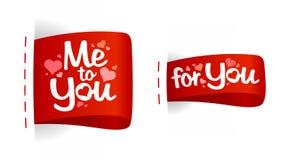 Escrituras de la etiqueta del día de tarjeta del día de San Valentín para los regalos. Imagen de archivo libre de regalías