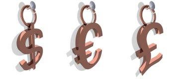 Escrituras de la etiqueta del dólar, del euro y de la libra Fotos de archivo