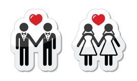 Escrituras de la etiqueta del matrimonio homosexual Foto de archivo libre de regalías
