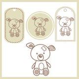 Escrituras de la etiqueta del oso del bebé Fotografía de archivo libre de regalías