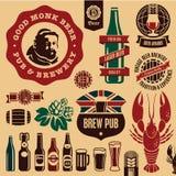 Escrituras de la etiqueta del pub de la cerveza Imagen de archivo libre de regalías