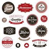 Escrituras de la etiqueta del restaurante de la vendimia Fotos de archivo libres de regalías
