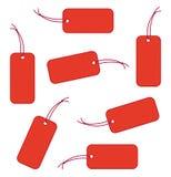 Escrituras de la etiqueta del rojo Fotografía de archivo libre de regalías