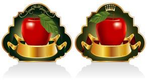 Escrituras de la etiqueta del rojo de las manzanas Imagen de archivo