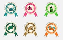 Escrituras de la etiqueta del vector con los animales domésticos Fotografía de archivo libre de regalías