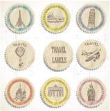 Escrituras de la etiqueta del viaje Fotos de archivo libres de regalías